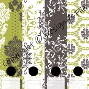 Lemon Damask File Labels